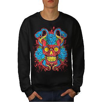 Kallo Rose käärme Skull miesten BlackSweatshirt | Wellcoda