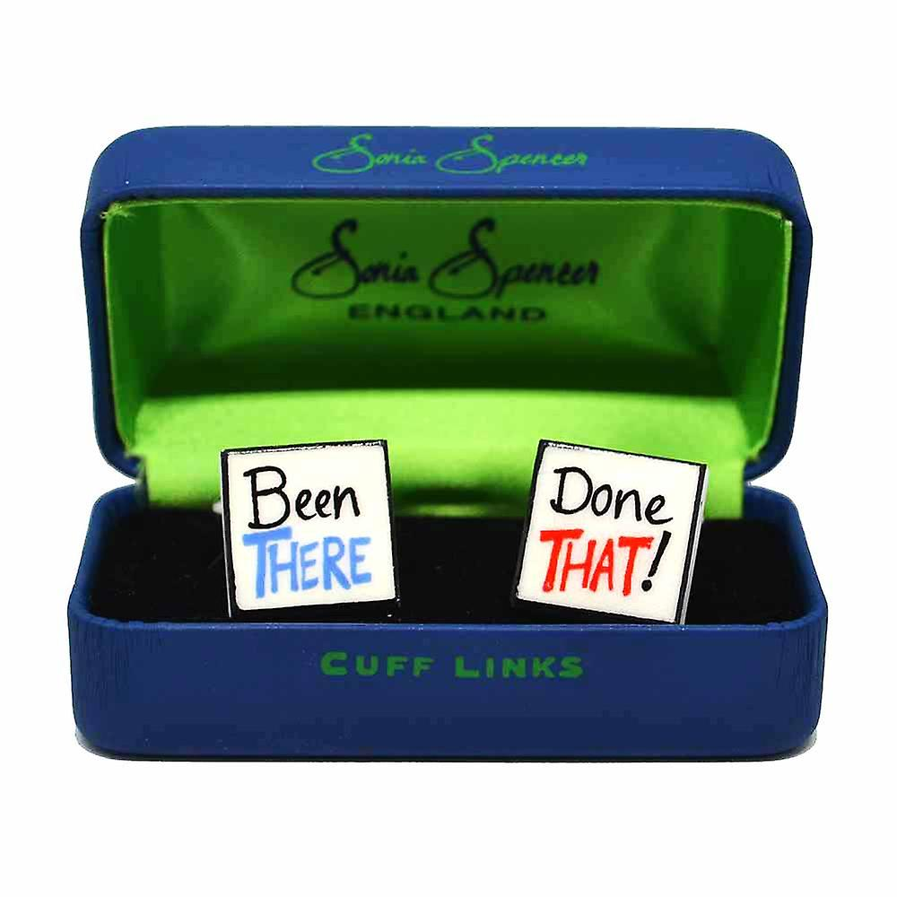 Been There Done That Cufflinks by Sonia Spencer, in Presentation Gift Box. Hand painted