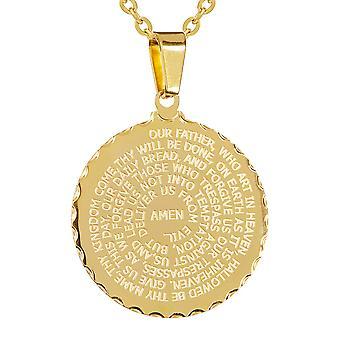 Dames 18Kt goud verguld Engels gebed ronde hanger & 18'' balletjes ketting
