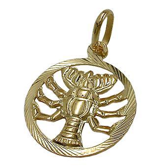 Gold Zodiac hängen cancer 375 Zodiac, cancer, 9 KT guld