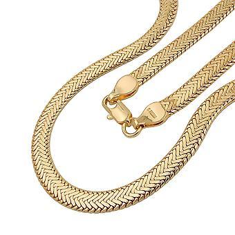 Fantasy Catena Collana serpente piatto premuto 5 mm placcato in oro AMD 50 cm