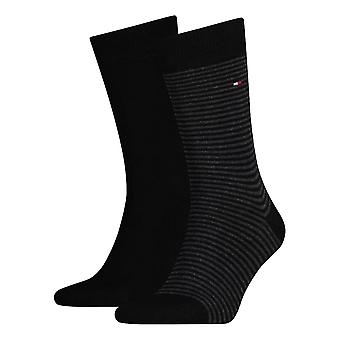 Tommy Hilfiger a rayas calcetines 2-Pack - negro