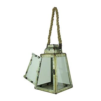 Rustic Metal Pyramid Candle Lantern with Rope Handle/Hanger