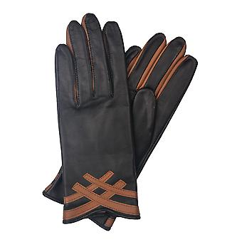 Daisy Contrasting Leather Gloves in Black