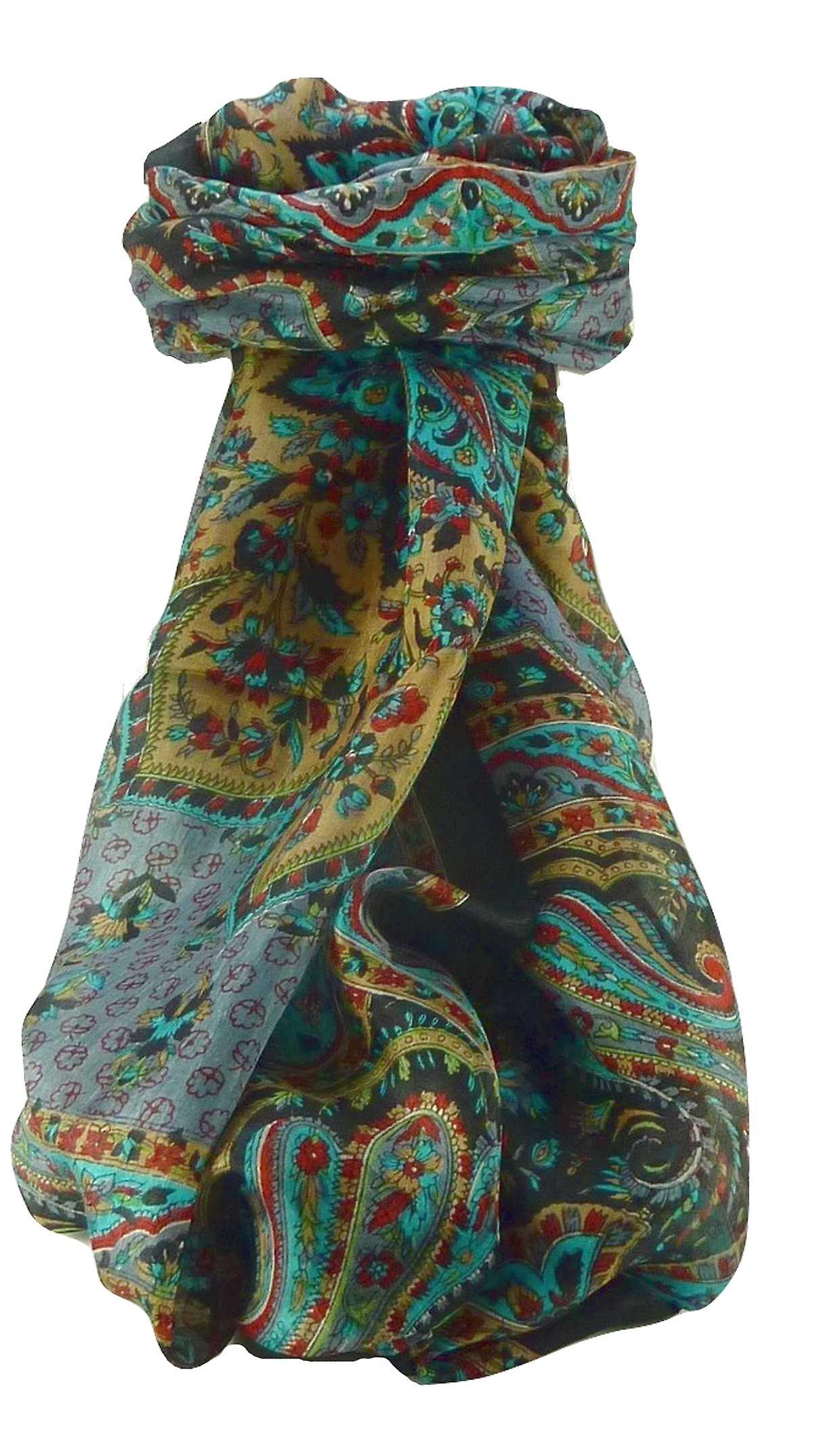 Mulberry Silk Traditional Long Scarf Cauver Black by Pashmina & Silk
