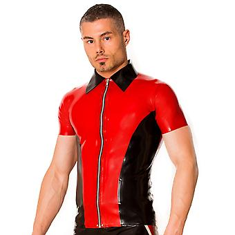 Skin Two Clothing Men's Kinky Shirt Tight Fitted in Latex Rubber Black & Red