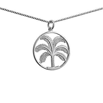 Silver 25mm Palm Tree in Circle Pendant with a 1.3mm wide curb Chain 24 inches