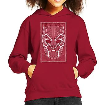 Marvel Black Panther Mask Wakanda Line Art Style Kid's Hooded Sweatshirt