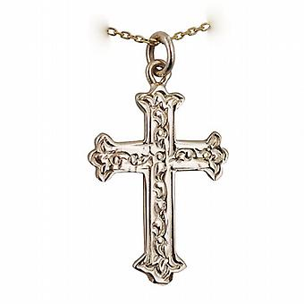 9ct Gold 30x22mm Fancy embossed pattern Cross with a cable Chain 20 inches