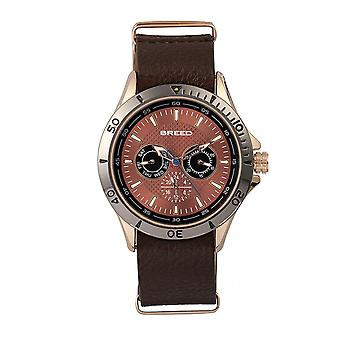 Breed Dixon Leather-Band Watch w/Day/Date - Bronze/Brown
