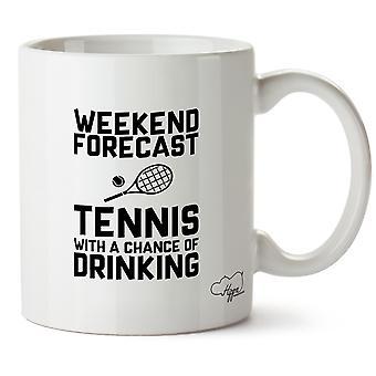 Hippowarehouse Weekend Pogoda tenisa z szansy drukowanych kubek do picia Kubek ceramiczny 10oz
