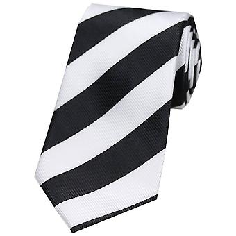 David Van Hagen Bold Stripe Polyester Tie - Black/White