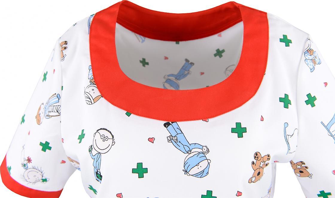 Anolo Bunter Kasack, women's bag, slip bag, nursing bag, children's motif, red trim, pediatrician's office, 1/2 arm, mixed fabric, English fabric, made in EU