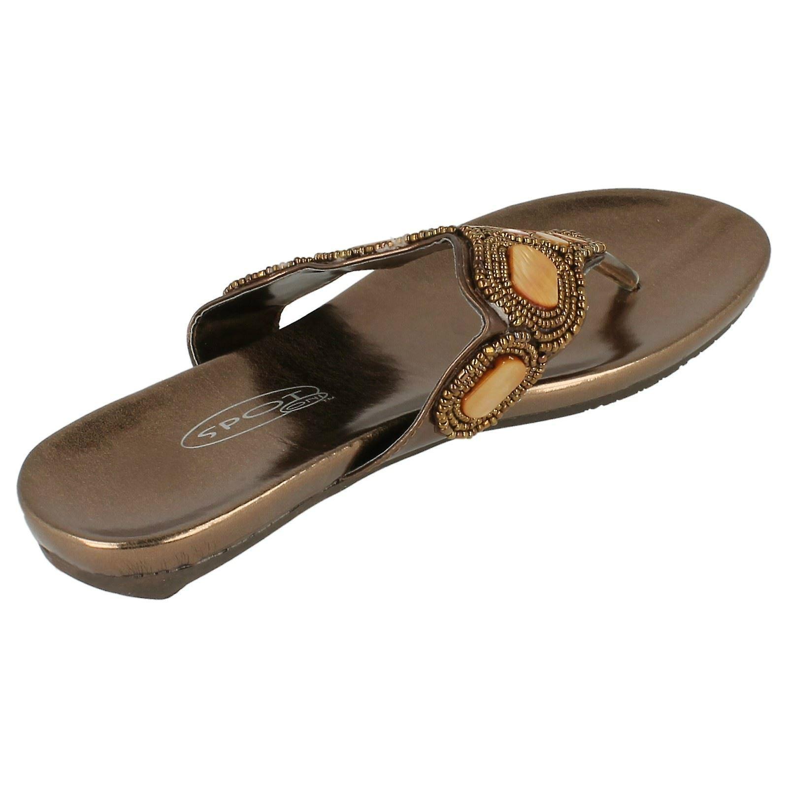 Ladies Flekk På Flat Beaded Toe Innlegget Sandaler