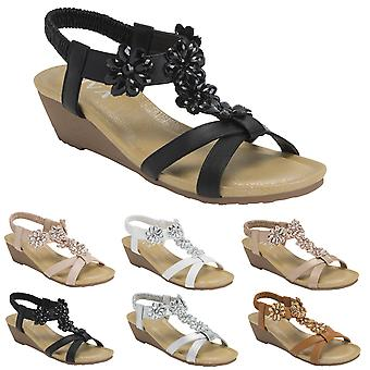 Womens Floral Low Wedge Heel Open Toe Summer Ankle Strap Holiday Sandals UK 3-8