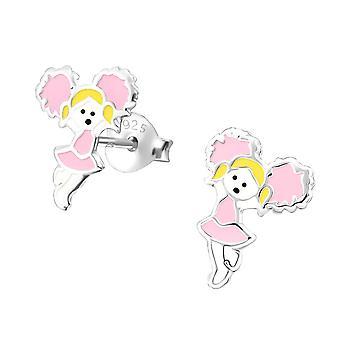 Children's Sterling Silver Pink Cheerleader Stud Earrings