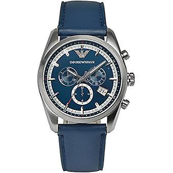 Armani Ar6041 Mens Retro Blue Dial Leather Strap Watch