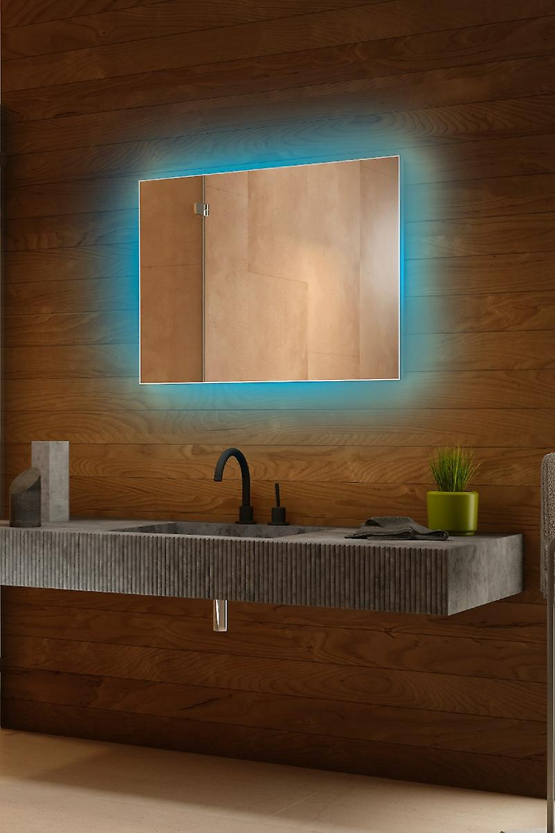 RGB Backlit Mirror with Sensor, Demister, Shaver Socket k708BLrgb