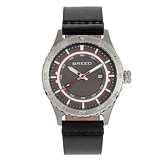 Breed Mechanic Leather-Band Watch w/Date - Grey