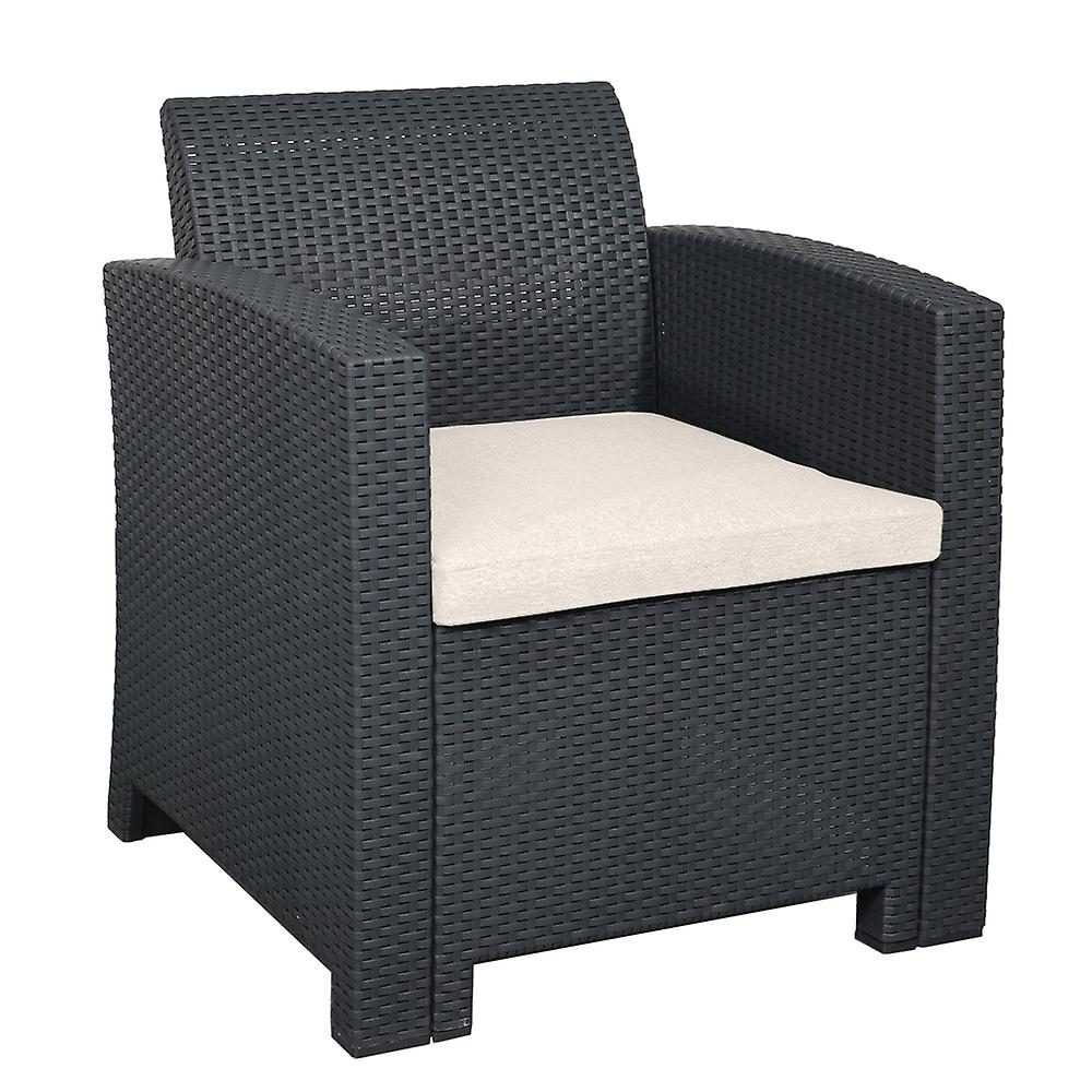 Marbella Outdoor Rattan Armchair Garden Furniture in Graphite with Cream Cushion