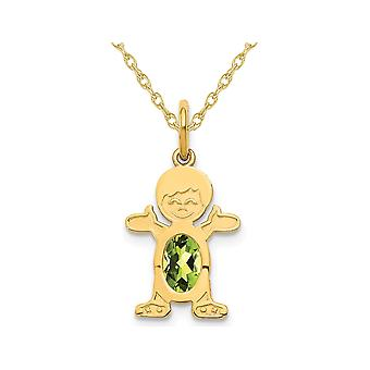 6x4mm Natural Peridot Little Baby Boy Charm Pendant Necklace in 14K Yellow Gold