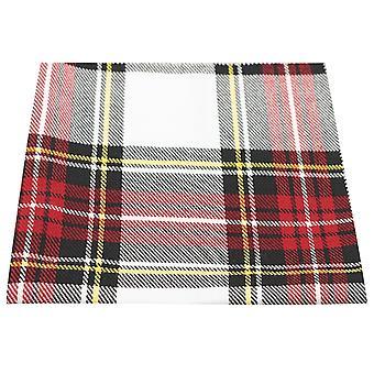 Tradizionale bianco & Red Tartan Pocket Square, fazzoletto, Check, Plaid