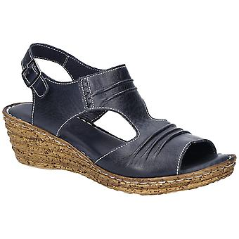 Fleet & Foster Womens Incence Pleated Leather Wedge Sandal