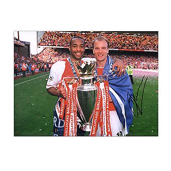 Dennis Bergkamp Signed Arsenal Photo: With Thierry Henry
