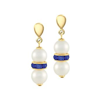 Eternal Collection Kaleidoscope Sapphire Blue Crystal Shell Pearl Gold Tone Drop Clip On Earrings