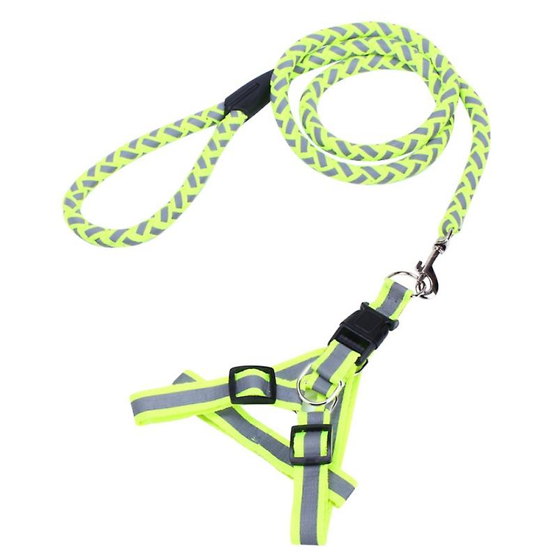 Flätat hållbart nylonkoppel med reflex - Grön