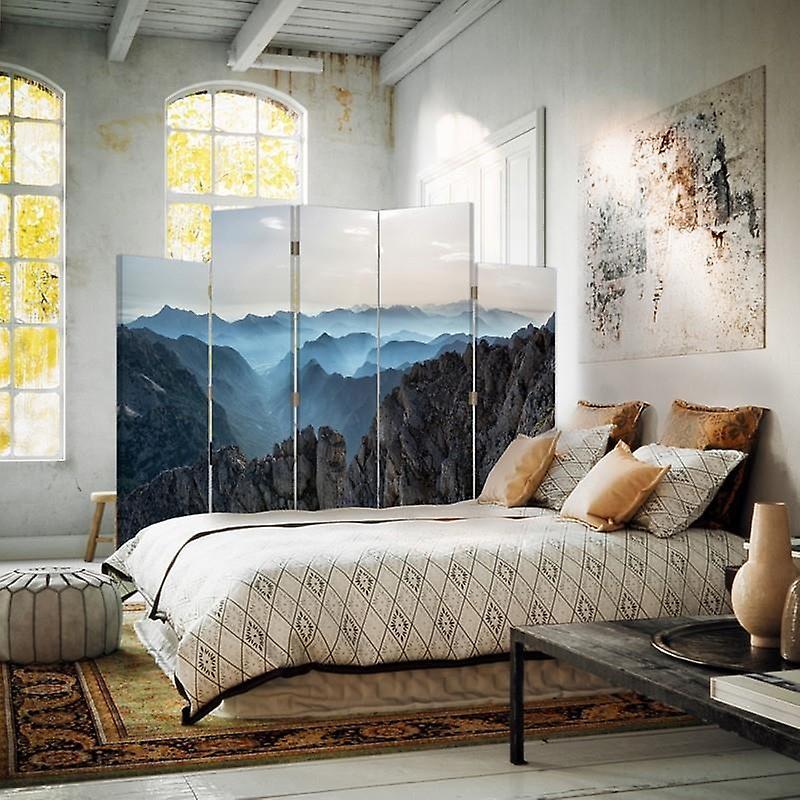 Diviseur de pièce décoratif, 5 panneaux, double-face, toile rotative de 360 , Panorama des montagnes