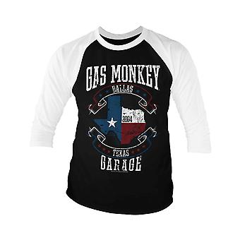 Gas Monkey Garage Baseball Shirt Texas Flag Logo Officiel Homme 3/4 Manche