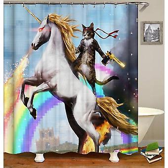 Katze Reiten ein Einhorn Duschvorhang