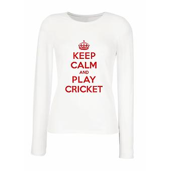 White women's long-sleeved T-shirt wtc1325 keep calm play cricket