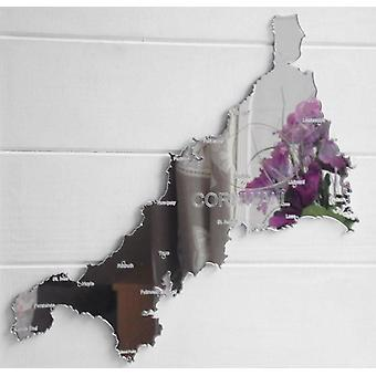 County Map of CORNWALL UK Engraved Acrylic Mirror
