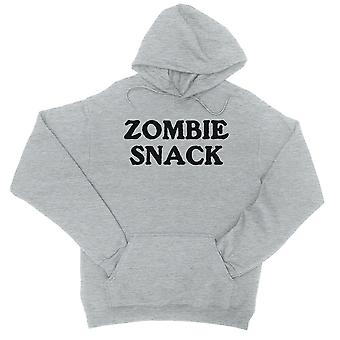 Zombie Snack Unisex Grey Pullover Hoodie Motivating Funny Halloween
