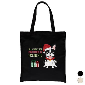 Christmas Frenchie stede Cool lerret bag Holiday Gift