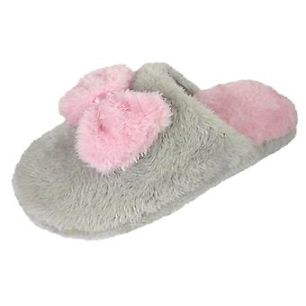Coolers Womens Faux Fur and Bow Tie Design Mule Slippers