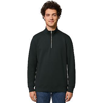 greenT Mens Organic Trucker Quarter Zip Jumper Sweatshirt