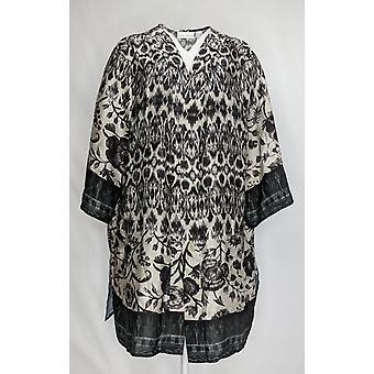 Susan Graver Femmes apos;s Plus Sweater Imprimé Charmeuse Cardigan Noir A367241