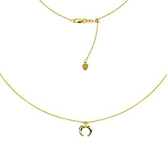 14k Yellow Gold 0.01 Dwt Diamond Half Moon Choker Adjustable Necklace 16 Inch Jewelry Gifts for Women