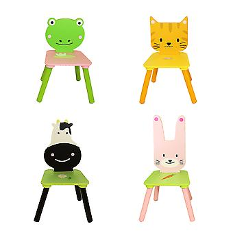 Charles Bentley Children's Animal 5 Piece Furniture Wooden Wipe Clean Table en Chair Set Pink Blue Playroom