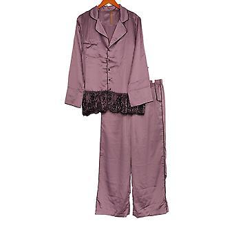 Casa Zeta Jones Women's Pajama Set Faux Silk Lace Trim Mauve Pink