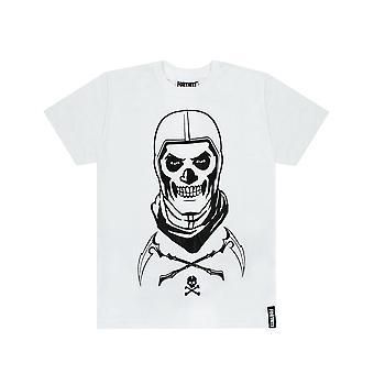 Fortnite Skull Trooper Boys White T-Shirt Battle Royale Kids Tee