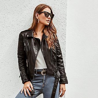 Pu zip up belted biker jacket