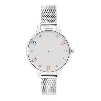 Olivia Burton Watches Ob16rb10 Rainbow Bee Demi Silver Boucle Mesh