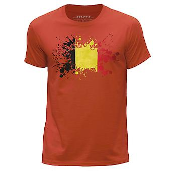 STUFF4 Men's Round Neck T-Shirt/Belgium Flag Splat/Orange