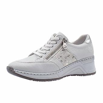 Rieker N4322-80 Kitty Smart Casual Lace-up Trainers In White