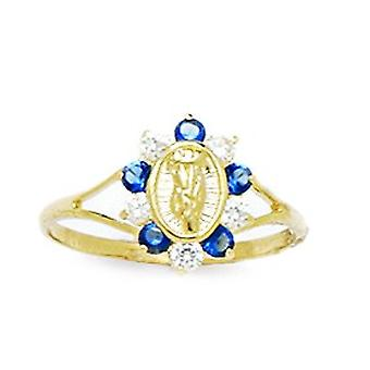 14k Yellow Gold Deep Blue CZ Cubic Zirconia Simulated Diamond Size 5.5 Virgin Mary for boys or girls Ring