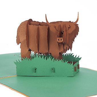 Cardology Highland Cow Pop Up Card